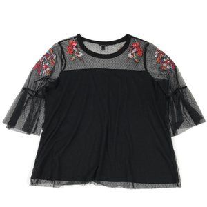 Torrid Floral Embroidered Mesh Top Size 2/2X
